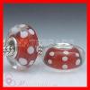 European Murano Red Glass Bead with White Polka Dot Design