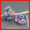 european Murano Blue Glass Bead with Pink flowers