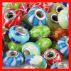 Mix 50 Pcs Different Styles European Style Polymer Clay beads in 925 Silver Double Core