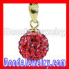 Fashion Gold Plated Silver 10mm Red Czech Crystal Pendants