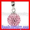 Sterling Silver 10mm Pink Czech Crystal Pendants Wholesale