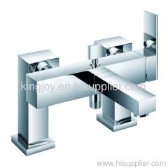 Single lever deck bath/shower mixer