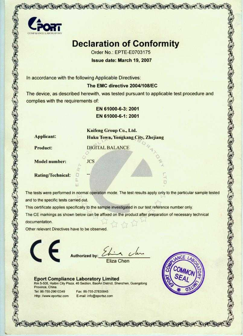 CE Certificate for Precision Balances