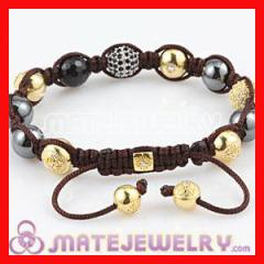 Gold Crystal Shamballa Hematite Bracelets