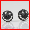 925 Sterling Silver Swarovski white-black crystal Smile Stud Earrings