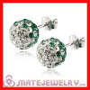 Shamballa 8mm Sterling Silver White-Green Czech Crystal Stud Earrings