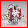 european style Red Snowflake Glass Beads with Silver Shatter