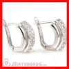 Shamballa 925 Sterling Silver Clear CZ Huggie Hoop Earrings