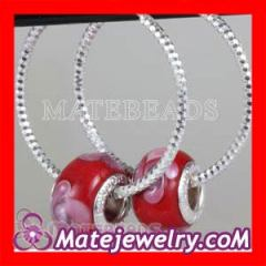 Fashion european Dia 30mm Red Flower Glass bead Style Silver Earring