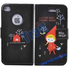 Cute Red Riding Hood Leather Case for iPhone4--Black
