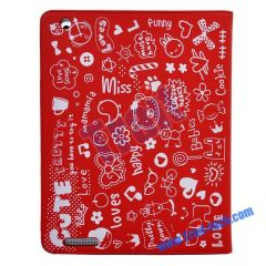 New Cute Pattern Leather Case Stand for iPad 2 (Red)