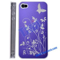 Aluminium Alloy Hard Case with Decorations for iPhone 4 (Blue)