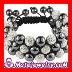 Shamballa 3 row crystal hematite bracelets