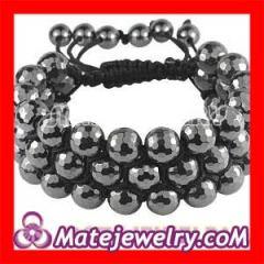 Shamballa 3 row hematite beaded bracelets