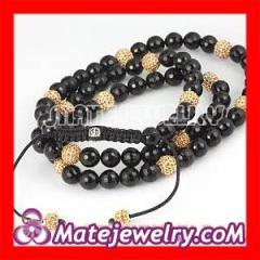 Yellow&Black Agate Crystal Unisex Shamballa Necklace