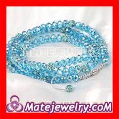 Shamballa Blue Long Glass Beaded Necklaces