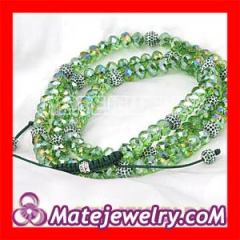 Long Green Crystal Necklace of Shamballa style