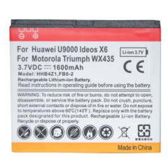 Battery for Huawei U9000 Ideos C6 / for Motorola Triumph WX435 with 3.7v 1600mAh