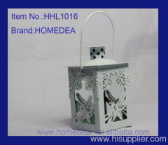 White metal lantern with butterfly HHL1016