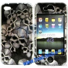 Skull Heads Front and Back hard Case for iPhone 4