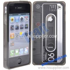 Classic Transparent Cassette Tape TPU Case Cover for iPhone 4