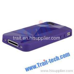 Asymmetric Triangle Pattern TPU Case for iPhone 4 (Purple)