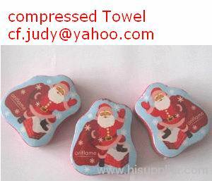 100% cotton Compressed Towel Christmas Promotion Gift