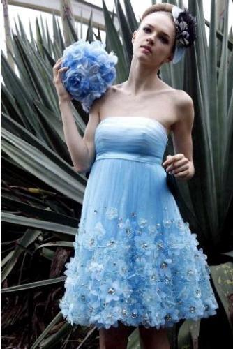 blue short flower girl dresses,charming strapless flower girl ...