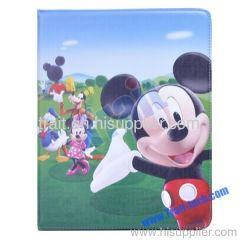 Fashion Cute Cartoon Leather Case Stand for iPad 2