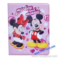 Cute Cartoon Leather Cover Stand Case for iPad 2