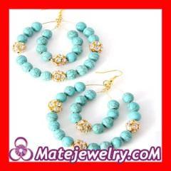 basketball earrings gold turquoise bead Rhinestone