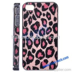 Leopard Grain Hard Case Cover for iPhone 4S/iPhone 4(Pink)