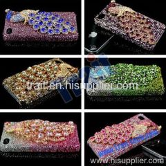 Luxurious 3D Bling Gold Peacock Diamond Crystal Back Cover Hard Case for iPhone 4