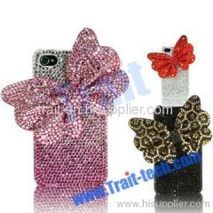 Bow Tie Crystal Bling Case for iPhone 4 3GS