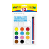 12C round semi-moist watercolor paints with colors pallete