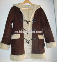 Women Jacket of Suede Bounded with Fake Fur HS2108