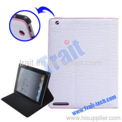 White Crocodile Skin Magical Color Changing Leather Stand Case for iPad 2 (Orange frame)