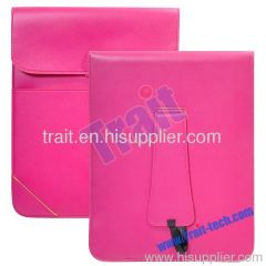 Muti-functional Leather Pouch Stand Case for iPad 2 (Pink)