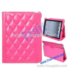 Diamond Pattern Smart Cover Stand Leather Case for iPad 2(Hot Pink)