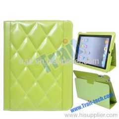Diamond Pattern Smart Cover Stand Leather Case for iPad 2(Green)