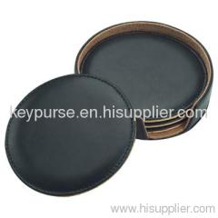 Leather Coaster Set Black
