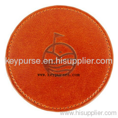 Round Leather Cup Mat