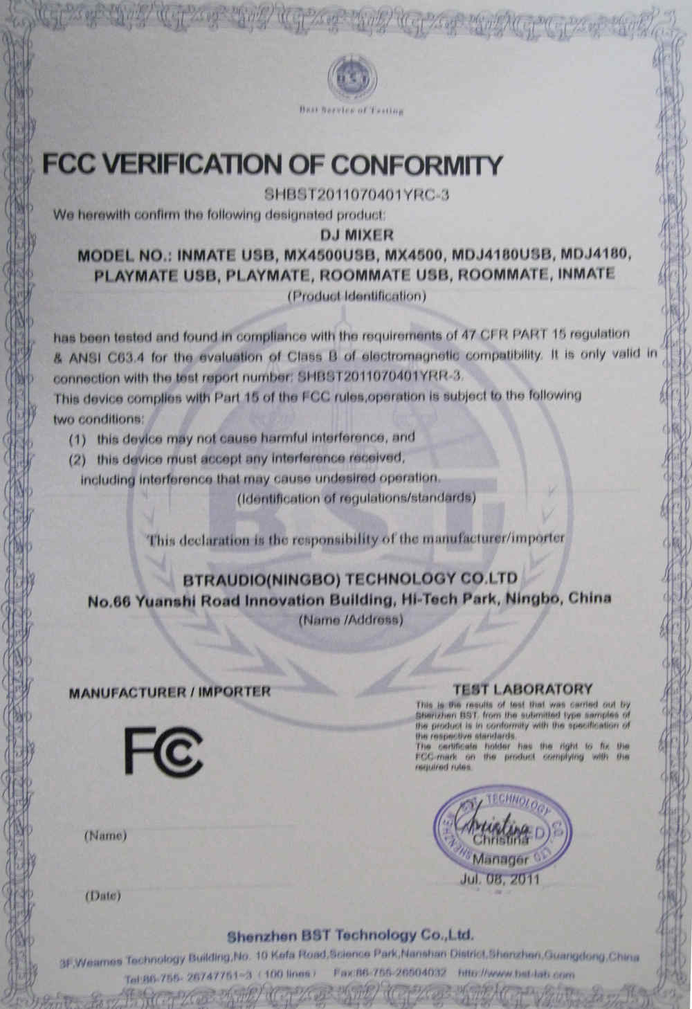 Certificates of FC