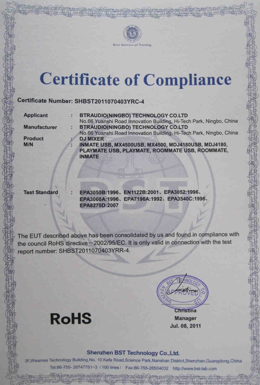 Certificates of ROHS