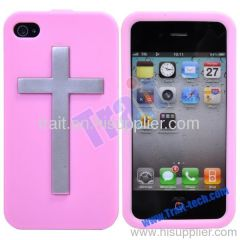 Cross Style Soft Silicon Case for iPhone 4/ iPhone 4S Wholesale (Pink)