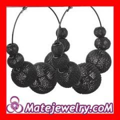 Black basketball wives mesh hoop earrings