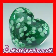 european glass heart beads