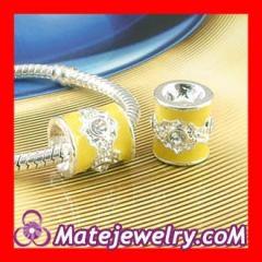 Sterling silver yellow enamel barrel beads