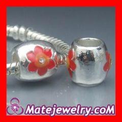 Silver red enamel flower beads