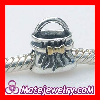 sterling silver handbag gold bow knot charms